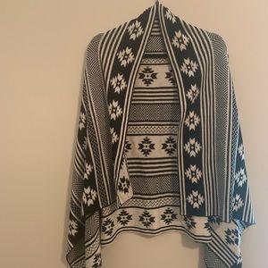 Reversible Aztec Printed Cape/Vest